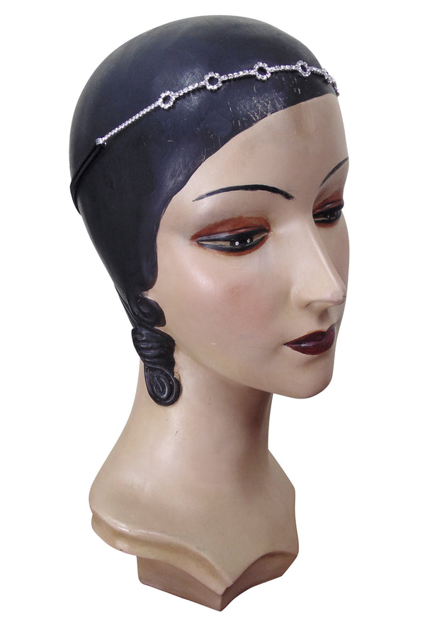 Diamante Vintage Style 1920's Flapper Headband - Minimalist Circle