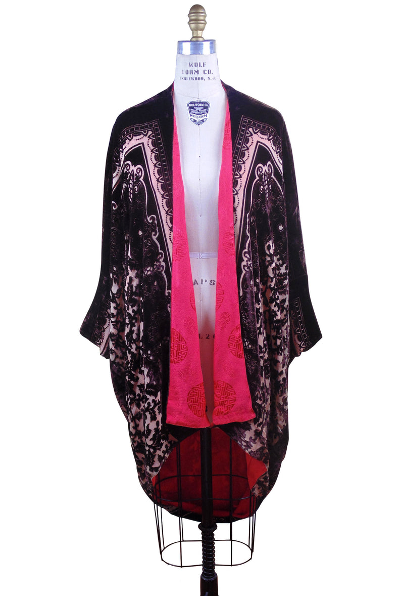 The Silk Velvet Cocoon 1920's Poiret Batwing Opera Coat - Mocha Tan Floral - The Deco Haus