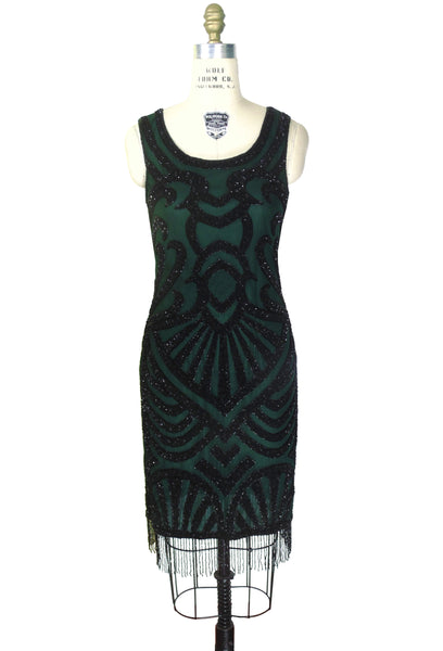 Modern 1920's Gatsby Party Cocktail - Posh Dress - Black on Green
