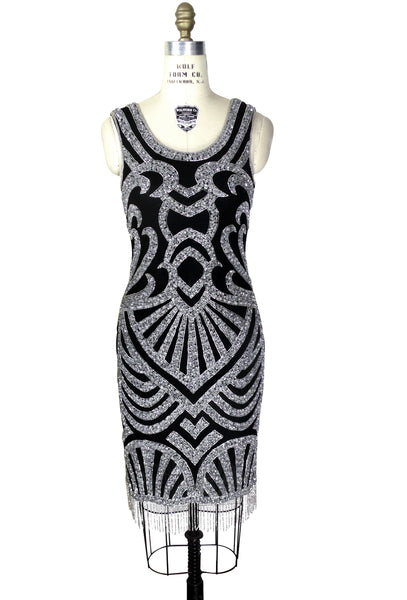Modern 1920's Gatsby Party Cocktail - Posh Dress - Silver on Black
