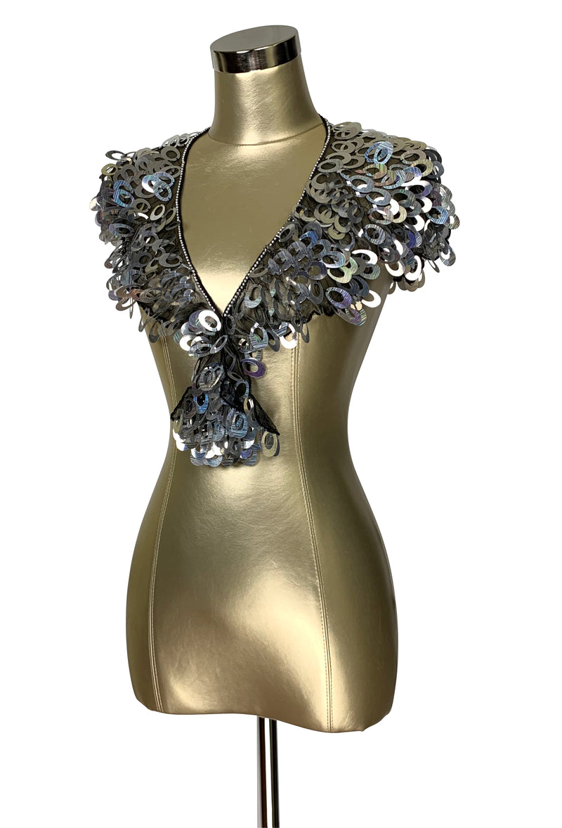Modern Luxe Pailette Beaded Collar Capelet - Silver - The Deco Haus