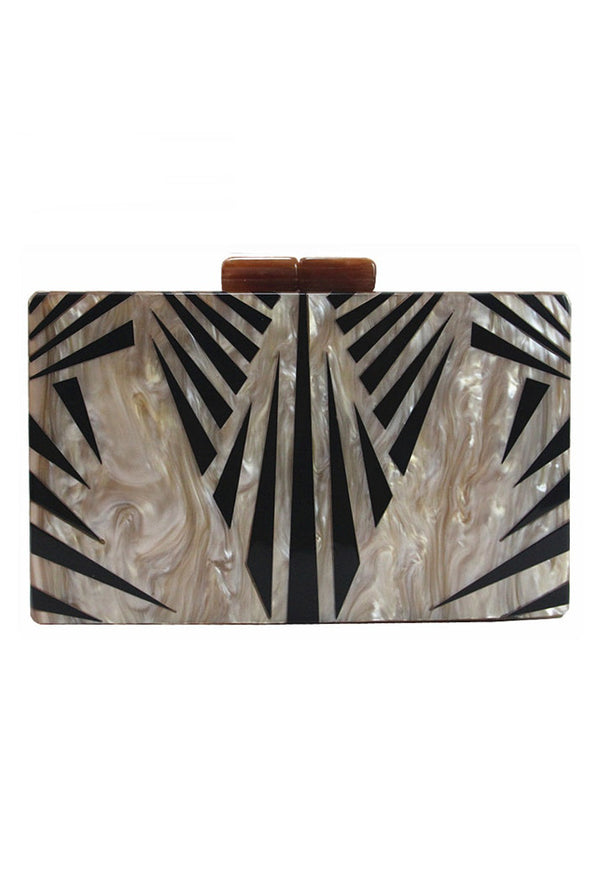 Modern Luxe Pearlized Box Clutch Purse - Gold Black Art Deco