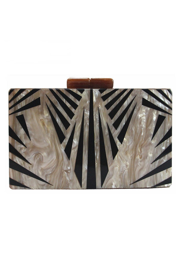 Modern Luxe Pearlized Box Clutch Purse - Gold Black Art Deco - The Deco Haus