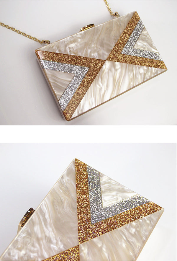 Modern Luxe Pearlized Box Clutch Purse - Pearl Deco