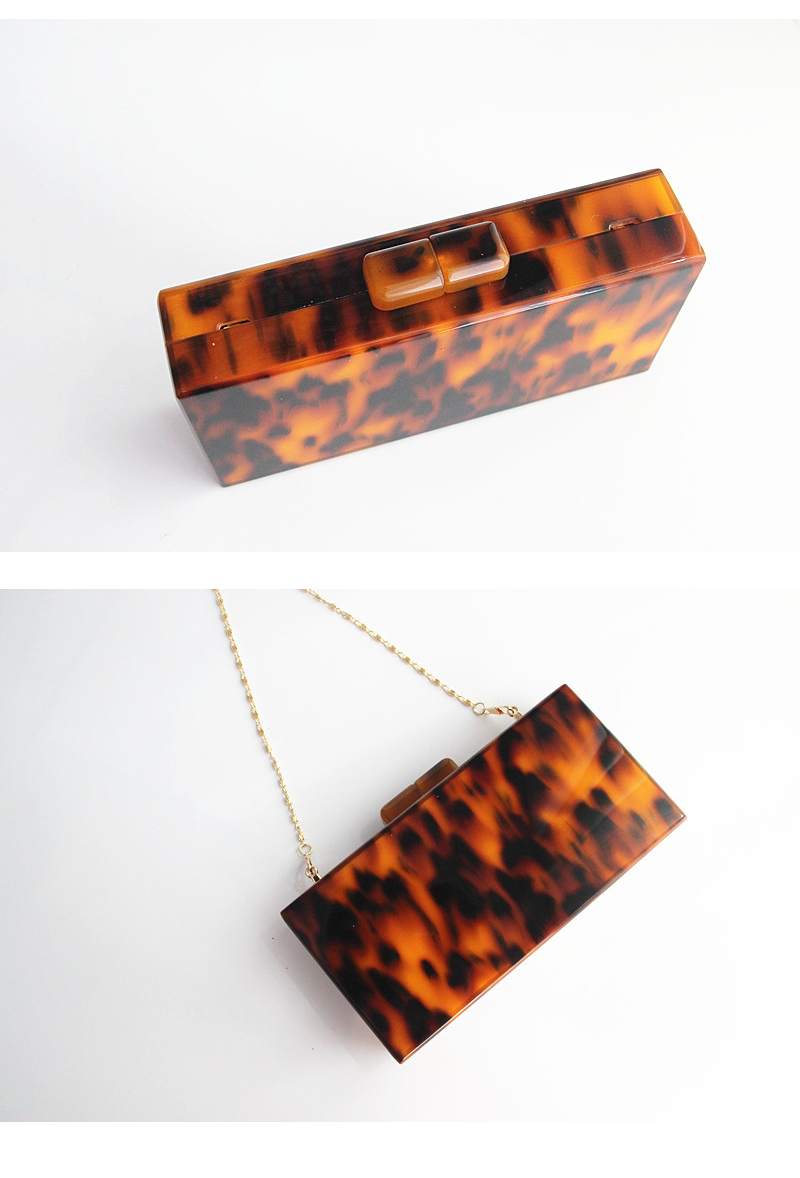 Modern Luxe Pearlized Box Clutch Purse - Tortoise Shell