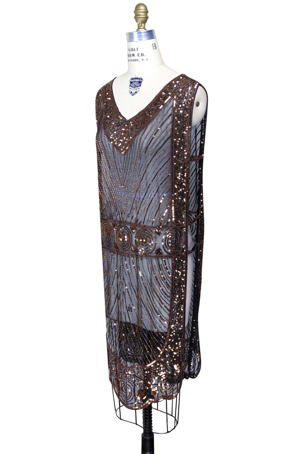 1920's Beaded Vintage Deco Tabard Panel Gown - The Modernist - Copper on Jet - The Deco Haus