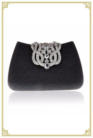 The Monroe Vintage Glamour Crystal Mesh Clutch Purse - Black - The Deco Haus