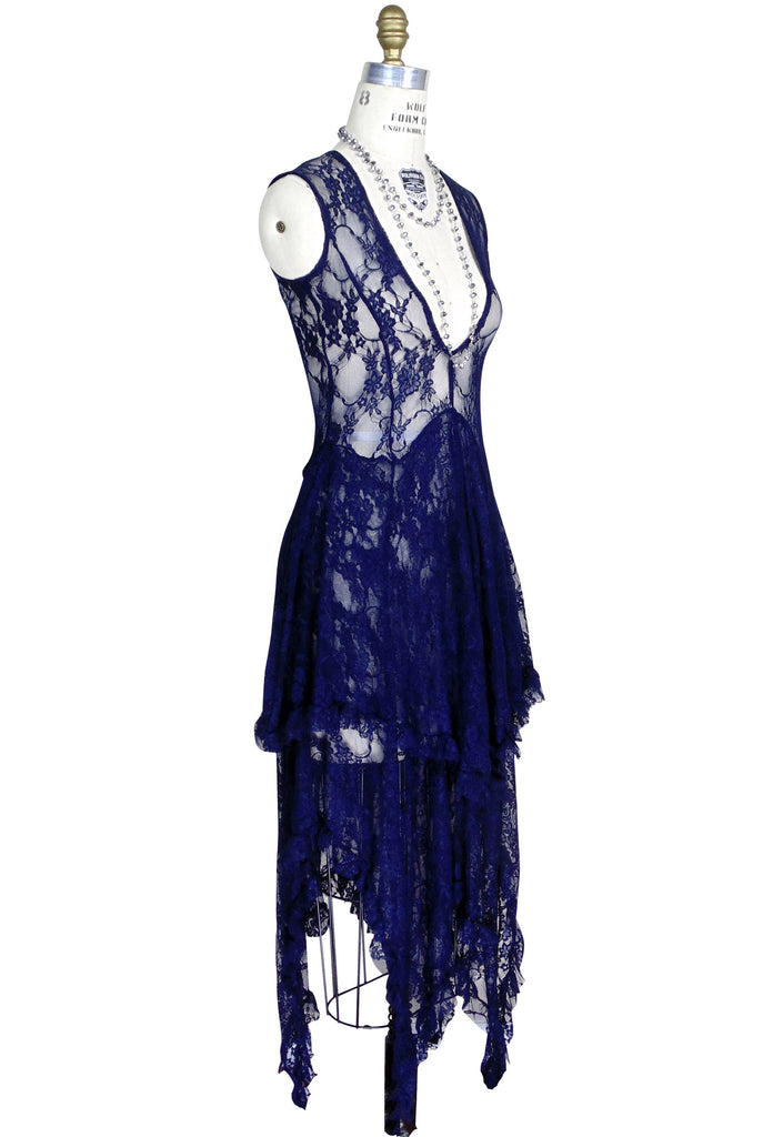 Ultra Chic 30's Victoriana Lace Low Cut Handkerchief Dress - Navy