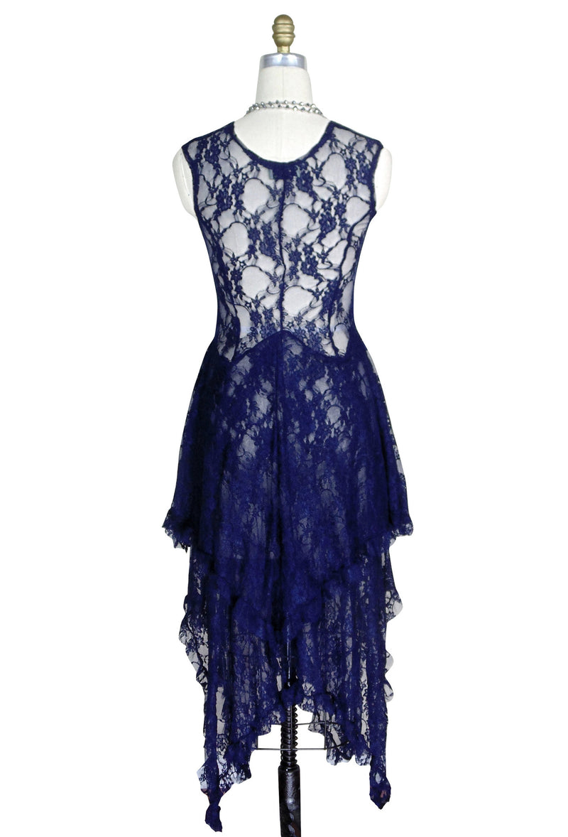 Ultra Chic 30's Victoriana Lace Low Cut Handkerchief Dress - Navy - The Deco Haus