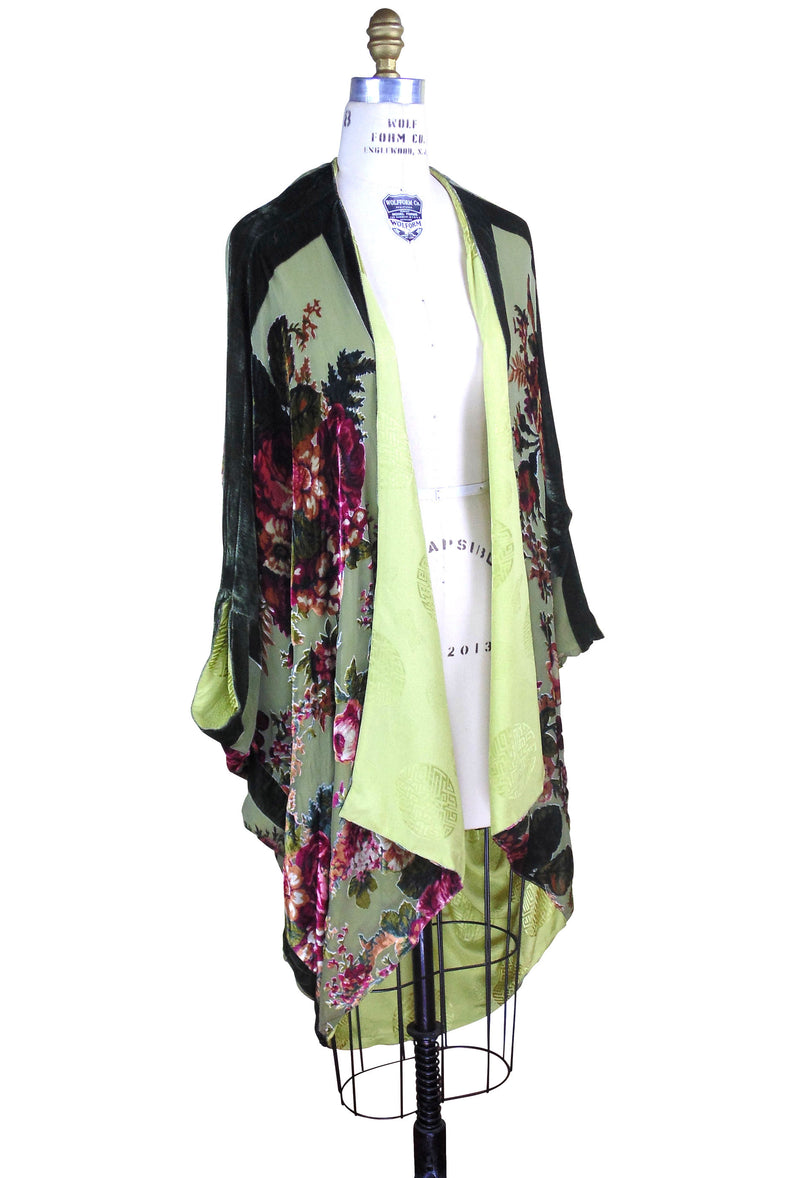The Silk Velvet Cocoon 1920's Poiret Batwing Opera Coat - Olive Victorian Rose - The Deco Haus
