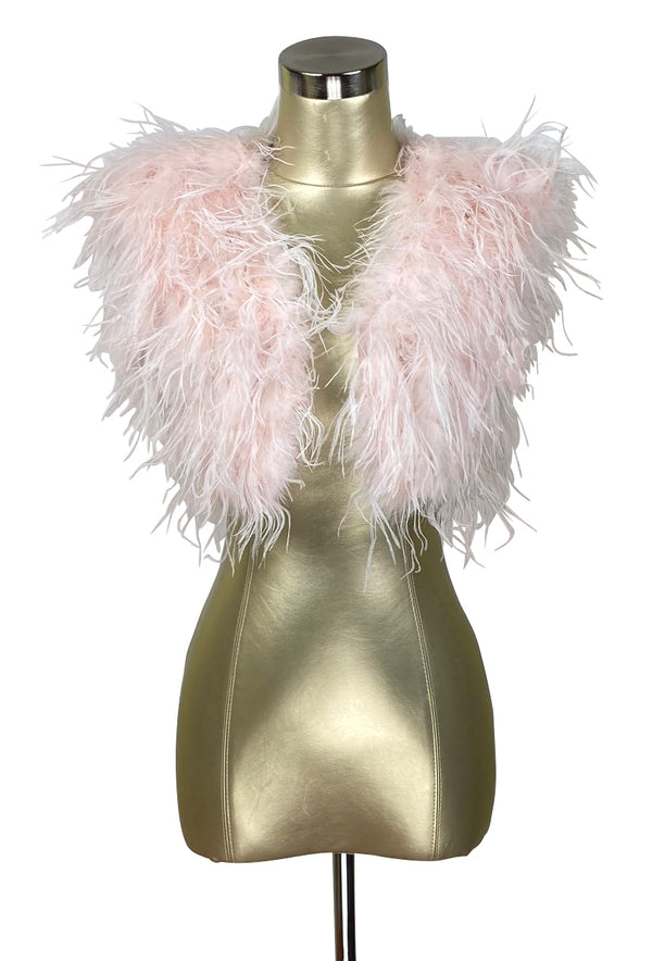 Ostrich Hollywood Glamour 1930s Vintage Style Bombshell Shrug - Blush Rose Pink
