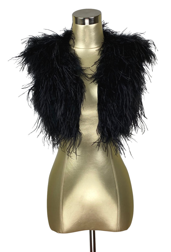 Ostrich Hollywood Glamour 1930s Vintage Style Bombshell Shrug - Ebony Black - The Deco Haus