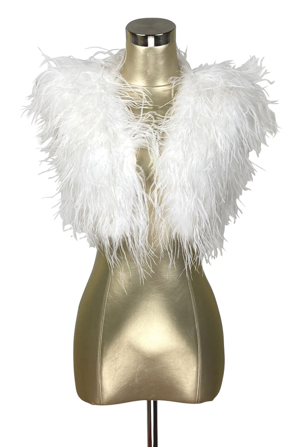 Ostrich Hollywood Glamour 1930s Vintage Style Bombshell Shrug - Ivory White - The Deco Haus