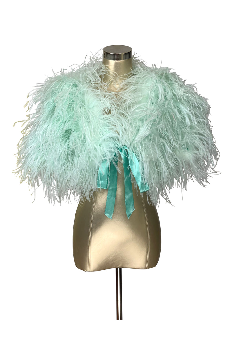 Ultra Ostrich Hollywood Glamour 1930s Vintage Style Harlow Wrap - Seafoam Green