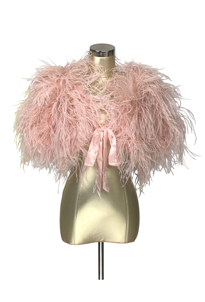 Ultra Ostrich Hollywood Glamour 1930s Vintage Style Harlow Wrap - Vintage Pink