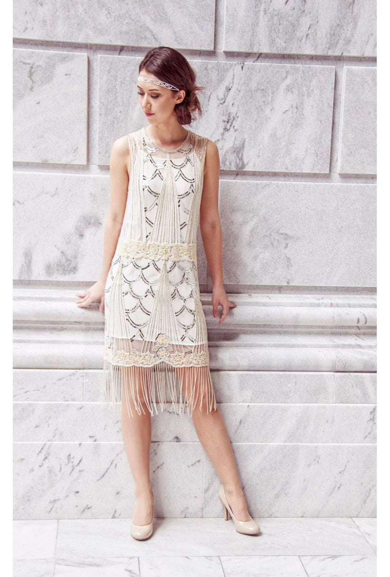 1920's Vintage Mesh Beaded Fringe Gatsby Wedding Dress - The Palais - The Deco Haus