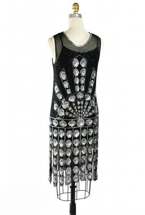Downton Abbey Inspired Dresses 1920s Gatsby Beaded Carwash Party Dress - The Paramount $349.95 AT vintagedancer.com