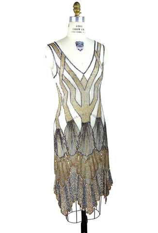 The Paris 1920's Handkerchief Art Deco Gown - Metallic - The Deco Haus