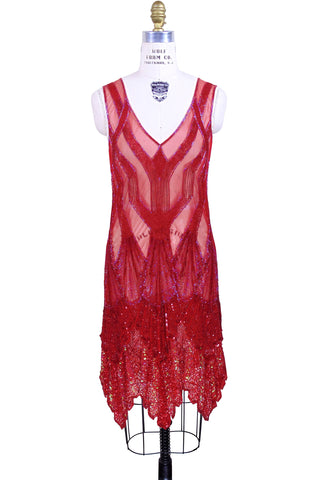 The Paris 1920's Handkerchief Art Deco Gown - Ruby Red - The Deco Haus