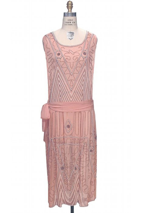 1920's Vintage Silk Hip Sash Beaded Bohemian Gatsby Party Dress - The Pavlova - Blush - The Deco Haus