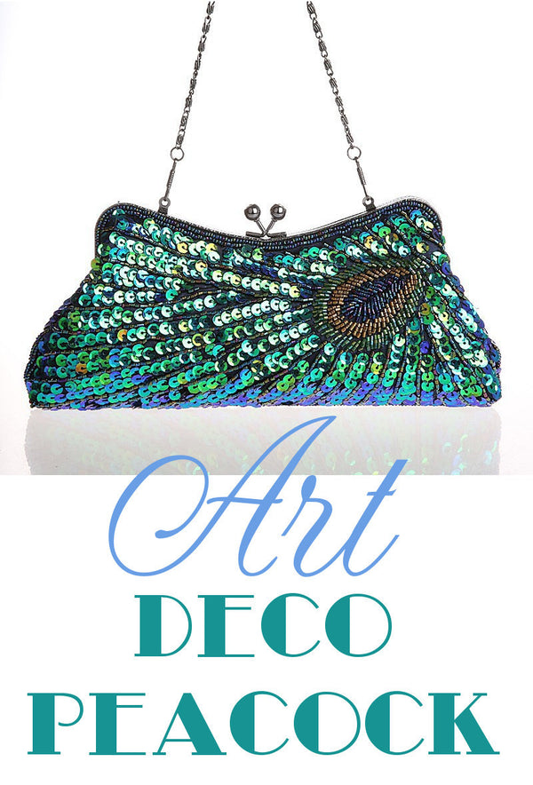 1930's Inspired Art Deco Beaded Evening Purse - Peacock Green - The Deco Haus