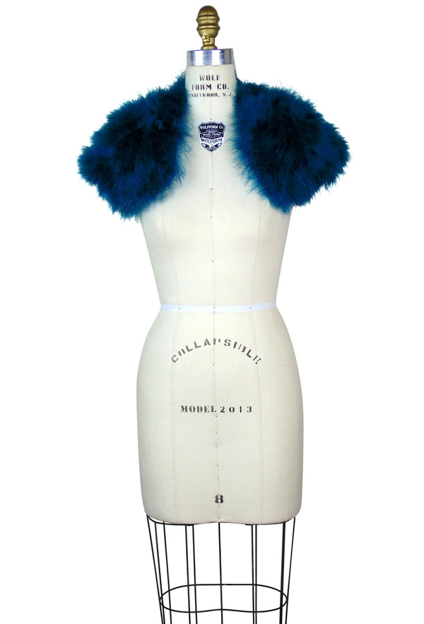 The Parisian Luxury Ostrich Vintage Feather Shrug Wrap - Peacock Blue - The Deco Haus