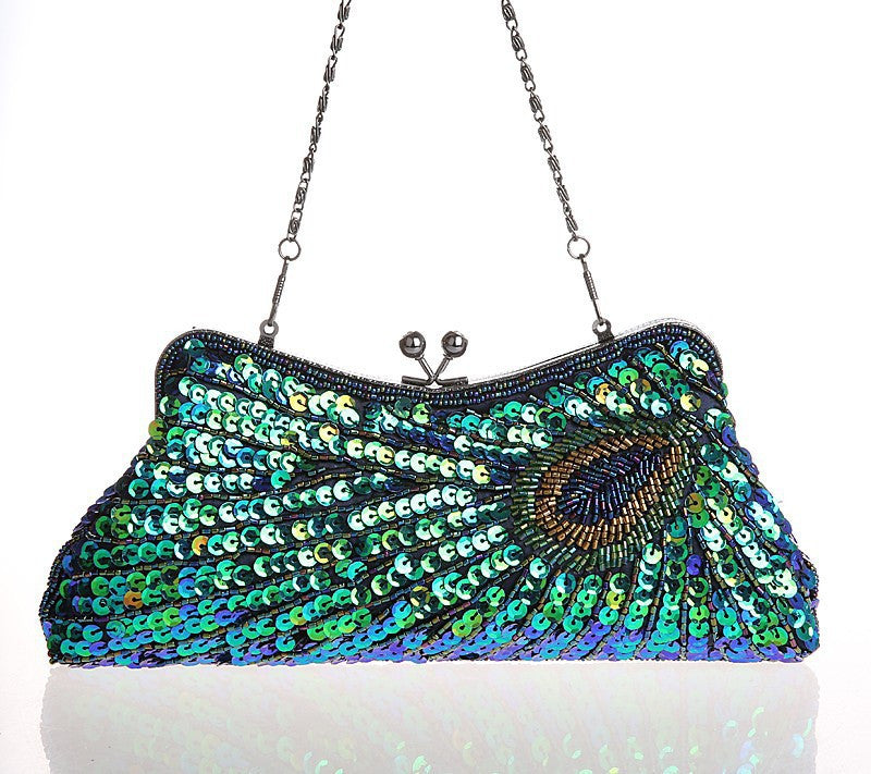 1930's Inspired Art Deco Beaded Beaded Evening Purse - Peacock Green