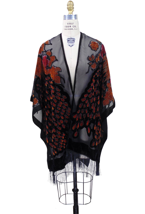 The Art Deco Peacock Burnout Velvet Open Evening Wrap - Burnt Orange - The Deco Haus