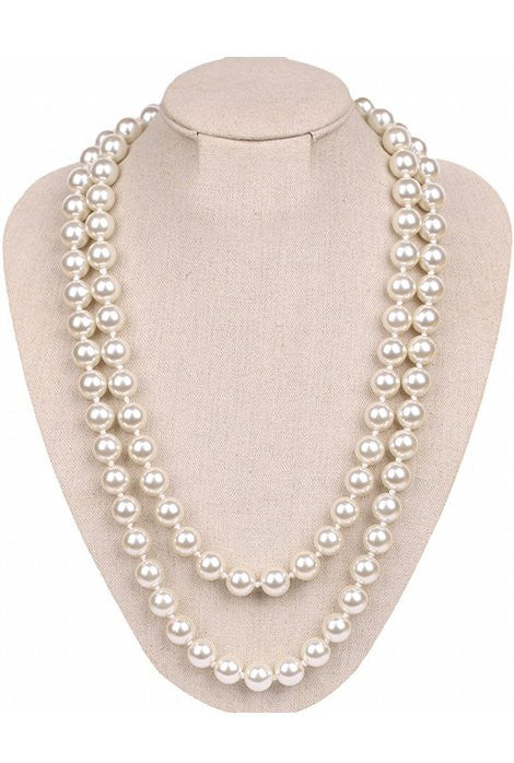 1920s Flapper Pearl Party Necklace - White - The Deco Haus