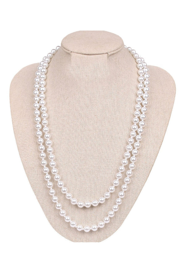 Long Pearl Rope Flapper Party Necklace 8mm - The Deco Haus
