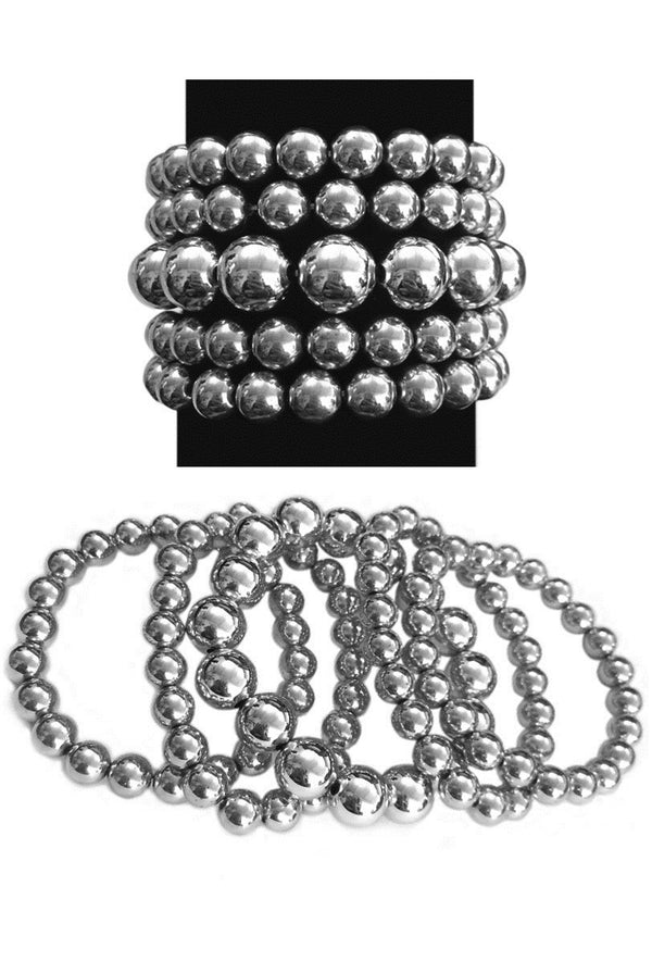 Pearl Stack Stretch Vintage Bracelet Set - 5 piece - Silver - The Deco Haus