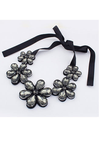 Art Deco Daisy Ribbon Necklace - Pewter
