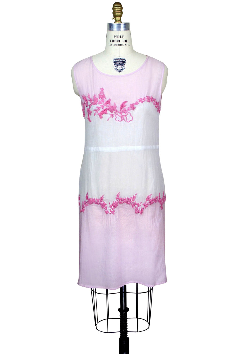 Vintage Style 20s Dropwaist Cotton Day Dress - The Deco Garland Dress - Pink Gauze - The Deco Haus