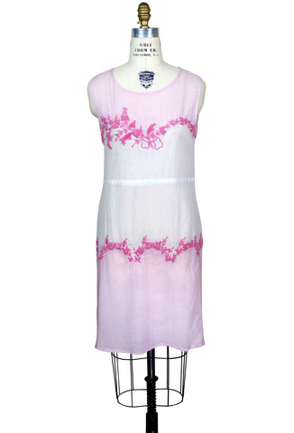 Great Vintage Style 20s Dropwaist Cotton Day Dress   The Deco Garland Dress    Pink Gauze