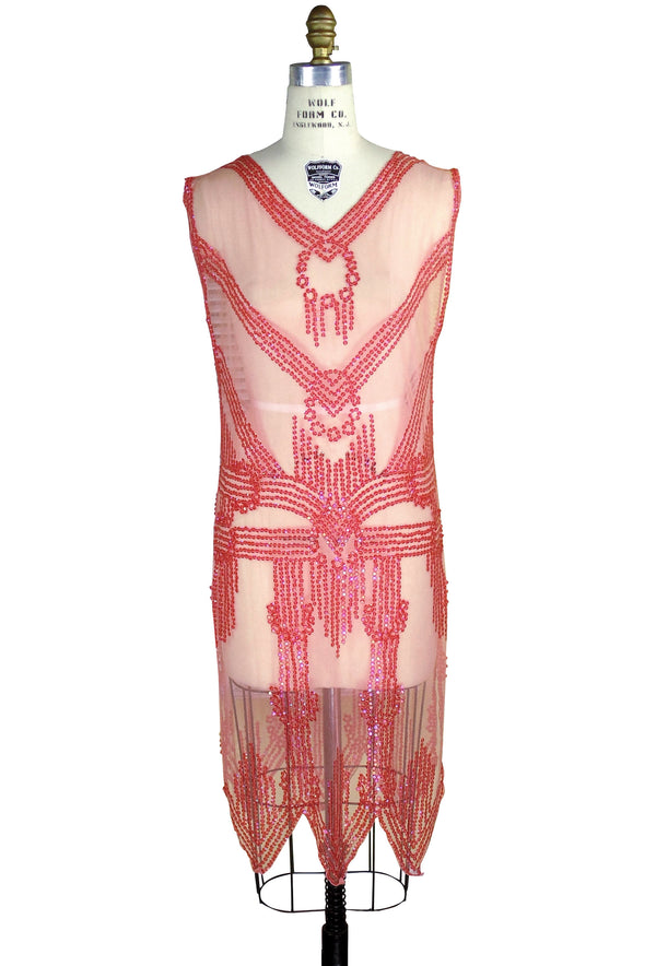 1920's Art Deco Panel Sheer Overlay Linear Deco Tabard Gown  - Watermelon Red - The Deco Haus