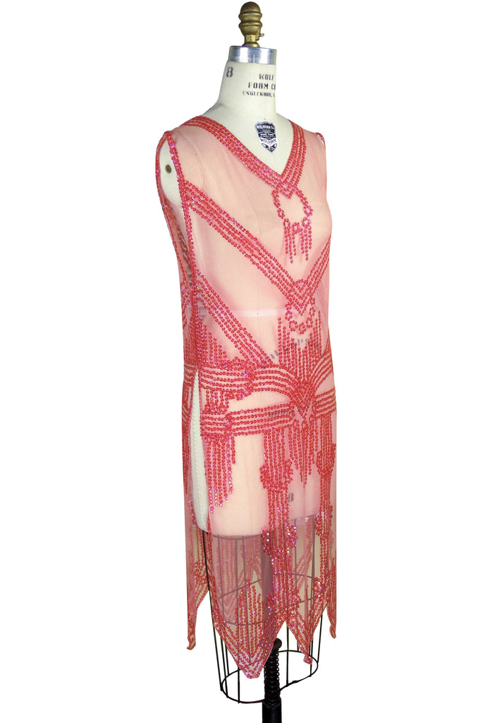 1920's Art Deco Panel Sheer Overlay Deco Tabard Gown  - Watermelon  Red - The Deco Haus
