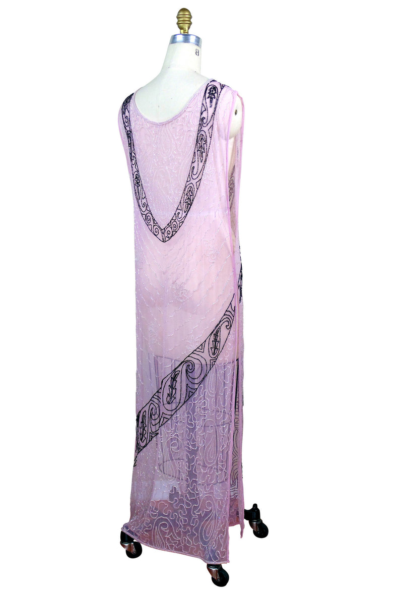 1930s Art Deco Hand Beaded Panel Gown - The Corsage - Blush - The Deco Haus