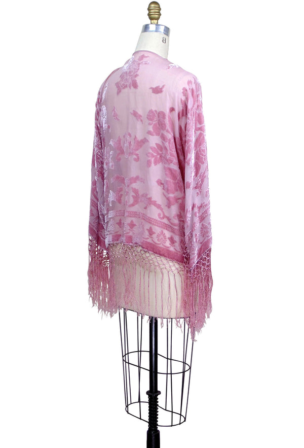 The 1930's Art Deco Kimono Scarf Jacket - Rose Pink Silk - The Deco Haus