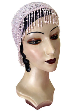 1920s Hand Beaded Gatsby Flapper Party Cap - Short Fringe - Pink Pearl - The Deco Haus