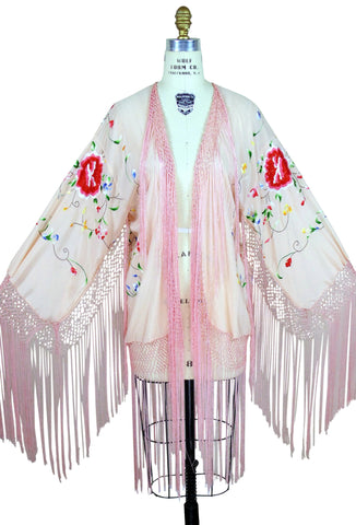 The 1920's Silk Embroidered Piano Shawl Jacket - Pink - The Deco Haus