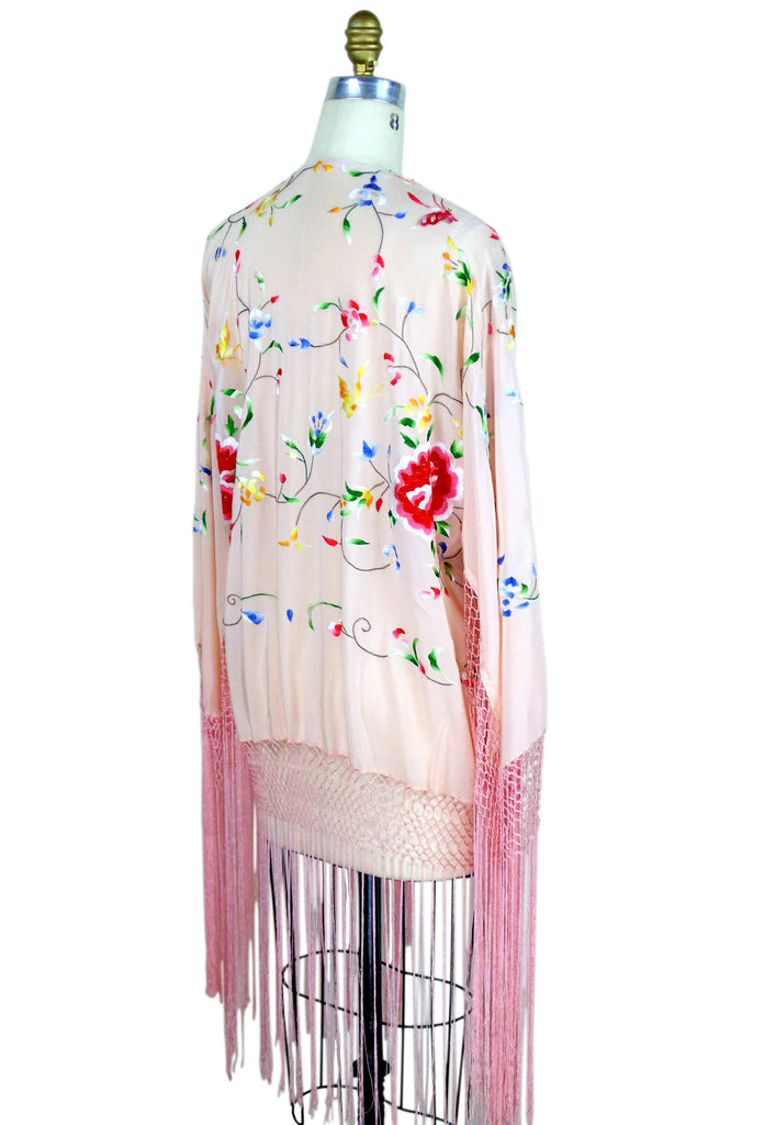 The 1920's Silk Embroidered Piano Shawl Jacket - Pink