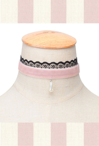 Pink Velvet Pearl Lace Ribbon Victorian Choker Necklace - The Deco Haus
