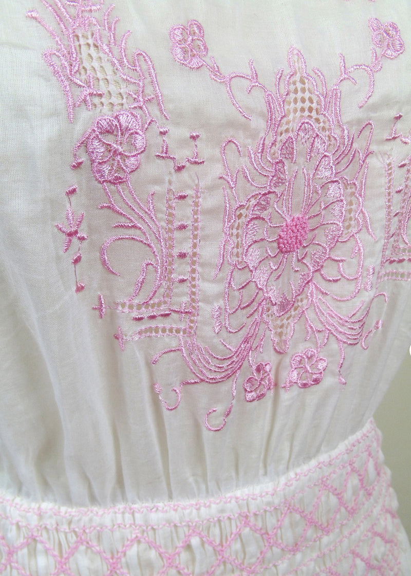 1930s Vintage Embroidered Peasant Dress - The Heirloom - Rouge Pink on White - The Deco Haus