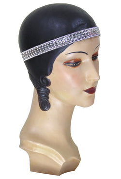 Platinum Deco Chic Beaded Flapper Headband - The Deco Haus
