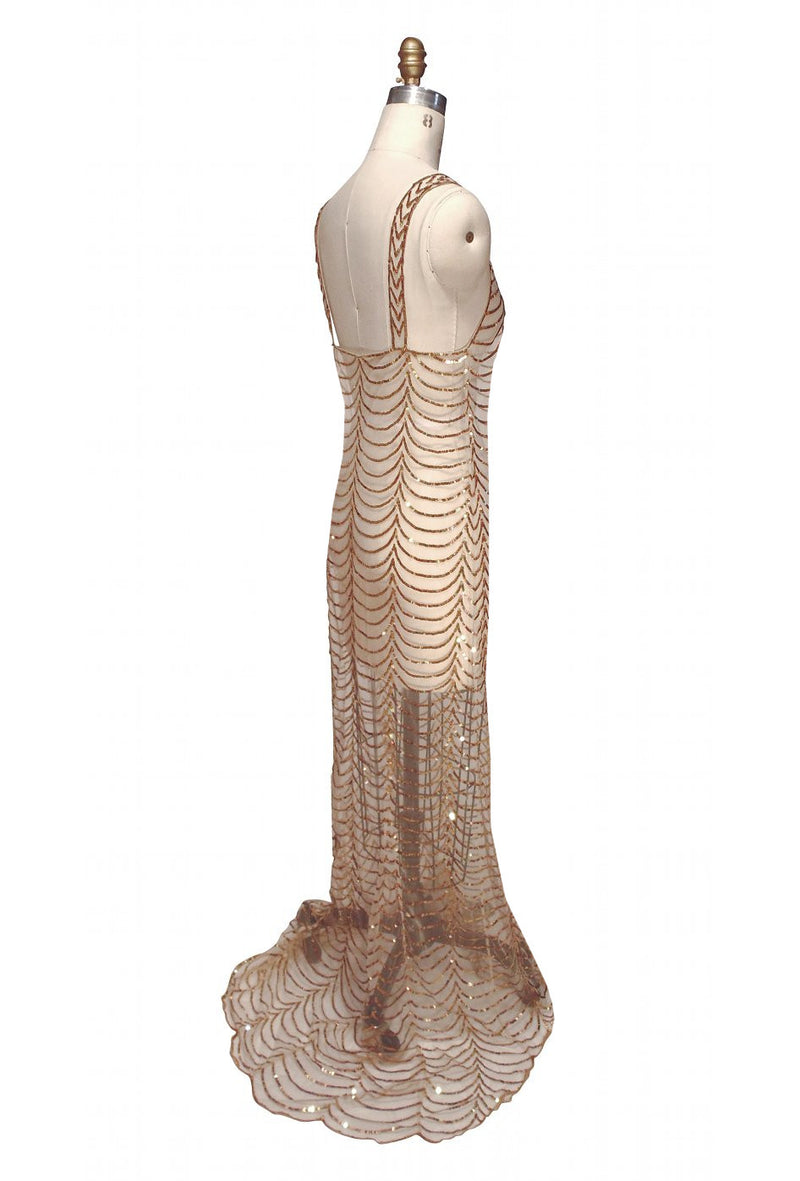 1930s Sequin Full Length Glamour Gown - The Poisson - Gold - The Deco Haus