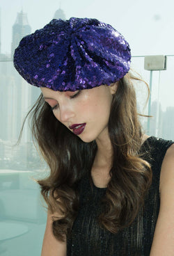 Super Chic Deco Sequin 1920's Style French Beret - Electric Purple - The Deco Haus
