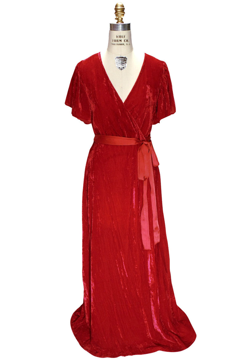 1930's Style Velvet Flutter Sleeve Full Length Glamour Gown - Red - The Deco Haus