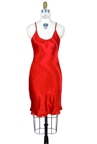 1930's Red Medium Length Slip Satin Flapper Gatsby