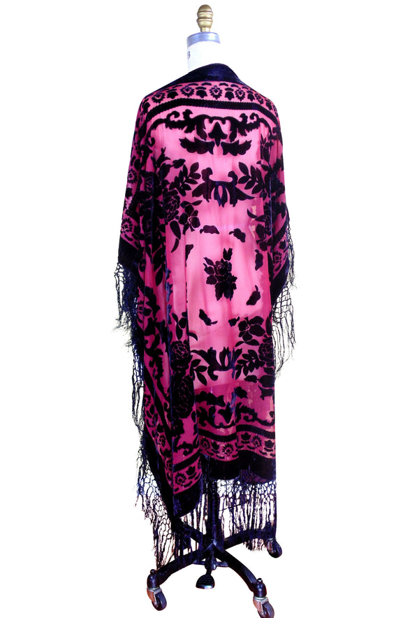 The Victorian Rose Burnout Silk Velvet Fringe 20s Evening Wrap - Red Black - The Deco Haus