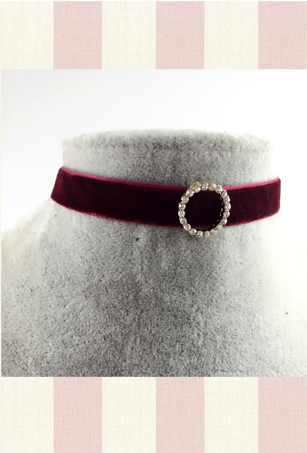 Red Deco Velvet Diamante Ribbon Vintage Choker Necklace - The Deco Haus